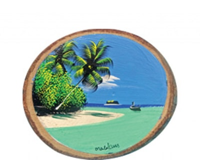 Hand Painted Wooden Magnet of Maldives (MGW003)