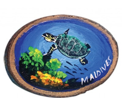 Hand Painted Wooden Magnet of Maldives (MGW011)