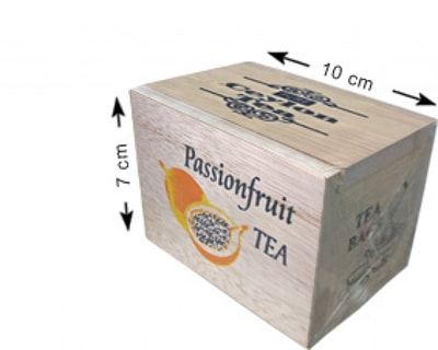 Maldives labeled Ceylon tea (Passion Fruit) in wooden box, 12 tea bags inside, net weight of 24g (FDT004)