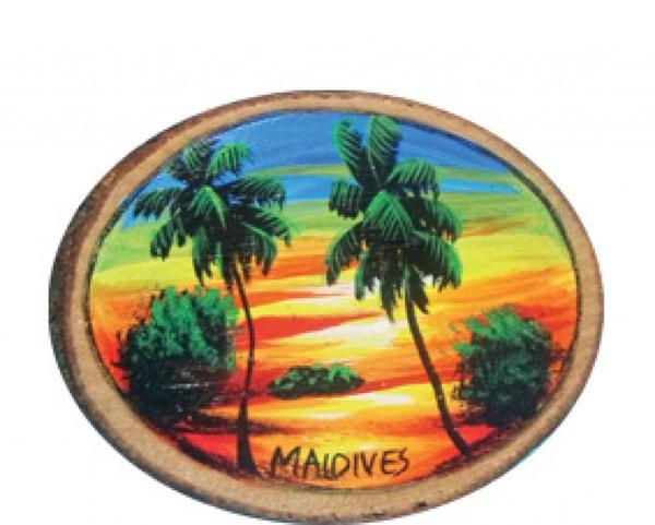 Handbemalter Holzmagnet der Malediven (MGW008)