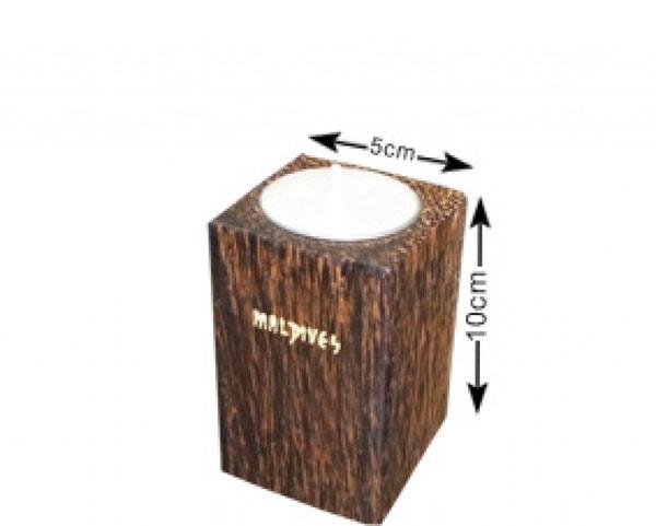 Portacandele in legno di cocco delle Maldive (WLC010)