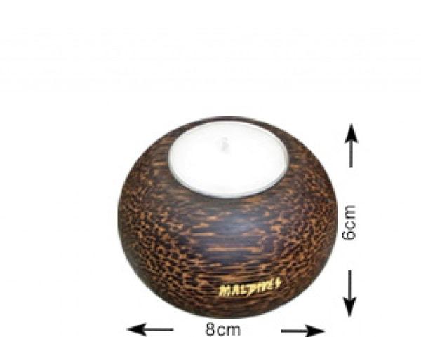 Runder Kerzenhalter aus Kokosnussholz von den Malediven (WLC013)