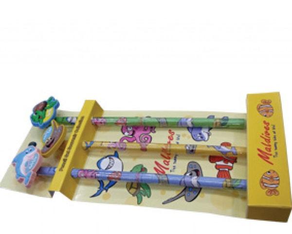 Malediven Bleistift-Set mit Radiergummi (STT012)