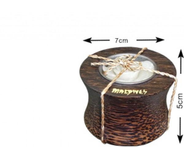 Portacandele in legno di cocco delle Maldive (WLC004)