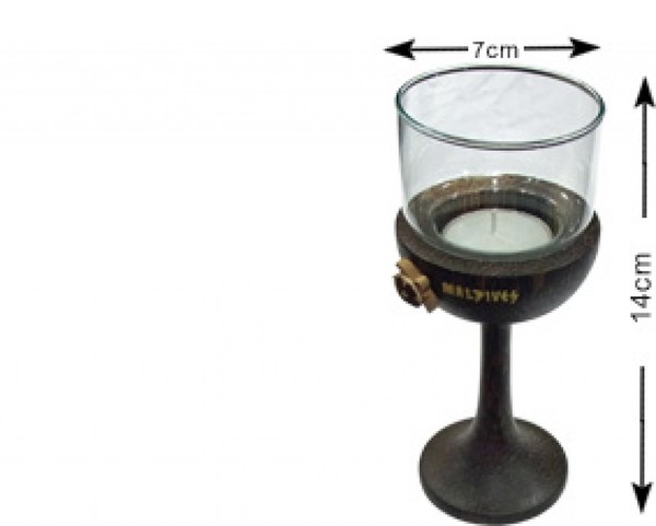 Malediven Kokosnussholz Kerzenhalter mit Glas (WLC006)