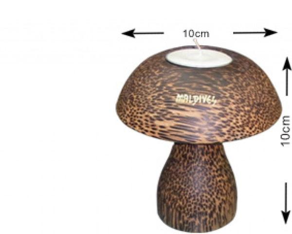 Portacandele in legno di cocco delle Maldive (M), (WLC002)