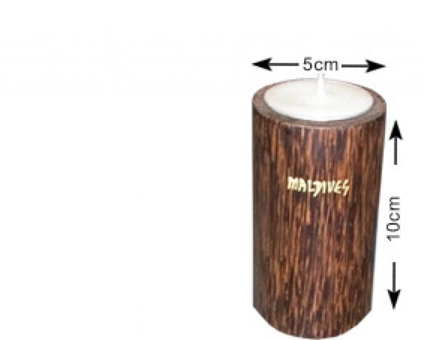 Portacandele in legno di cocco delle Maldive (WLC014)