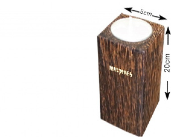 Portacandele in legno di cocco delle Maldive (WLC012)