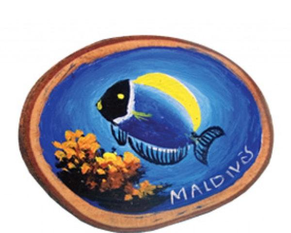Handbemalter Holzmagnet der Malediven (MGW009)