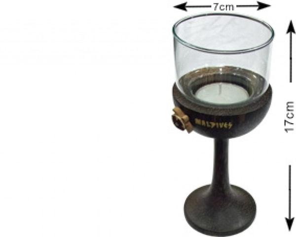 Malediven-Kokosnussholz-Kerzenhalter mit Glas (WLC007)