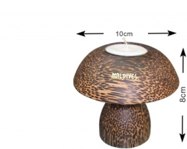 Maldives coconut wood mushroom candle holder (S), (WLC001)